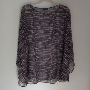 Eileen Fisher handpainted silk poncho OS
